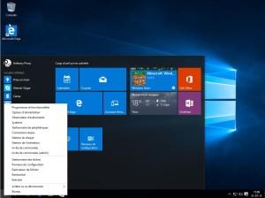 Menu démarrer windows 10 accès rapide configuration système